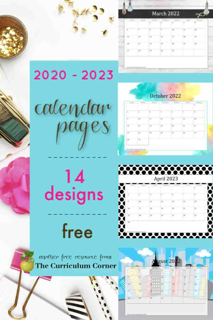These newly updated teacher calendar pages contain 14 free styles for the years 2020 through 2023.