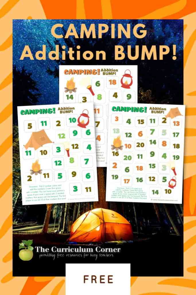 This set of four free Camping Addition BUMP! games will help your students on mastering addition facts with a camping theme.