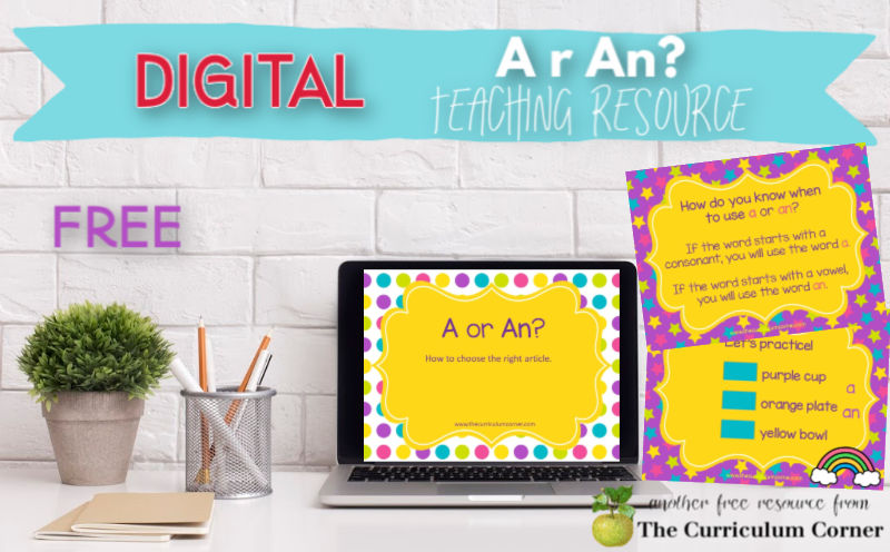 This digital teaching and practice tool will give your children help with correctly using a or an.