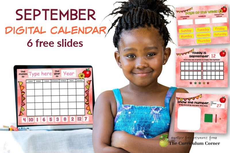 This September digital calendar is designed to help you with calendar time during your virtual instruction.