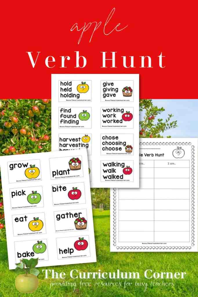 Use this Apple Picking Verb Hunt set to build a little movement into your daily literacy centers.
