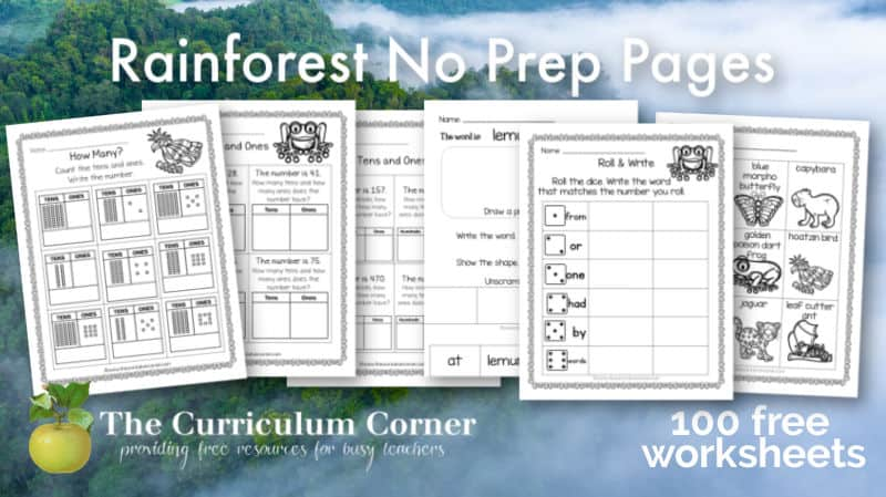 These rainforest no prep pages will serve as a printable addition to our rainforest themed sub plans.