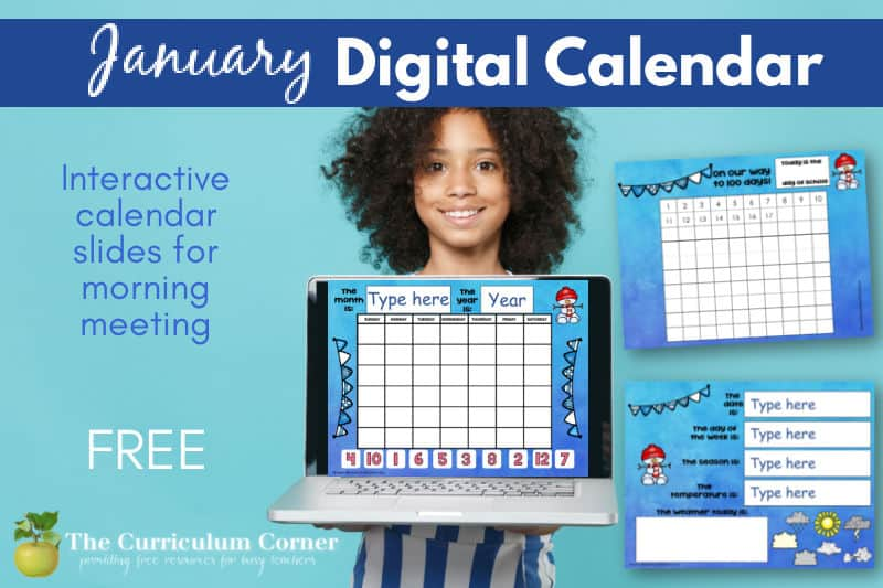 This January digital calendar is a perfect addition to your distance learning collection (or just for your in-classroom digital collection.)