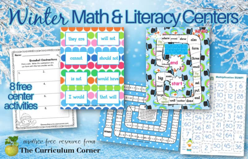 Download these free winter math and literacy centers to help you create ready-to-go center activities.