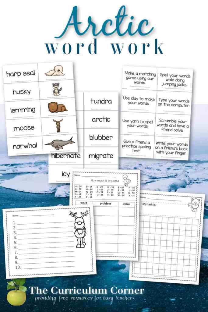 Use this card collection and recording pages for an Arctic word work study in your classroom. This is a free collection from The Curriculum Corner.
