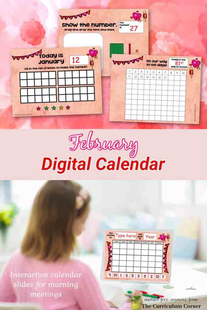Free February digital calendar with interactive slides to help you guide your morning meeting in the classroom or virtually.