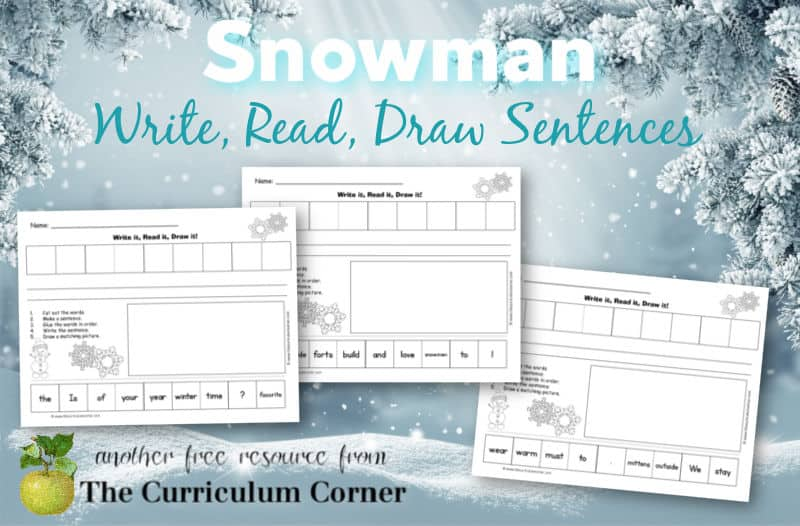 Use these snowman scrambled sentences at a literacy center to help your students stay engaged while learning.