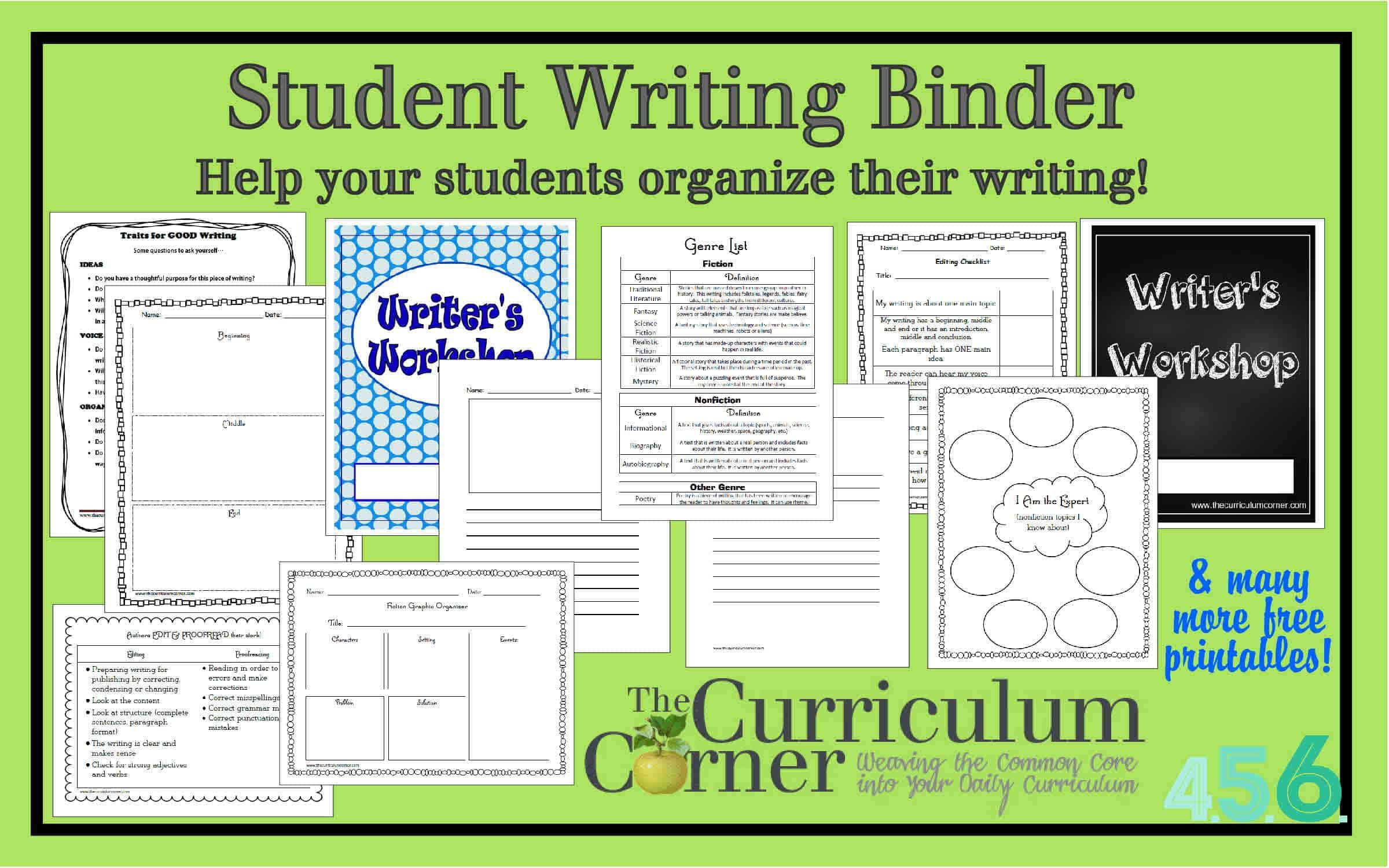Student Writing Binder