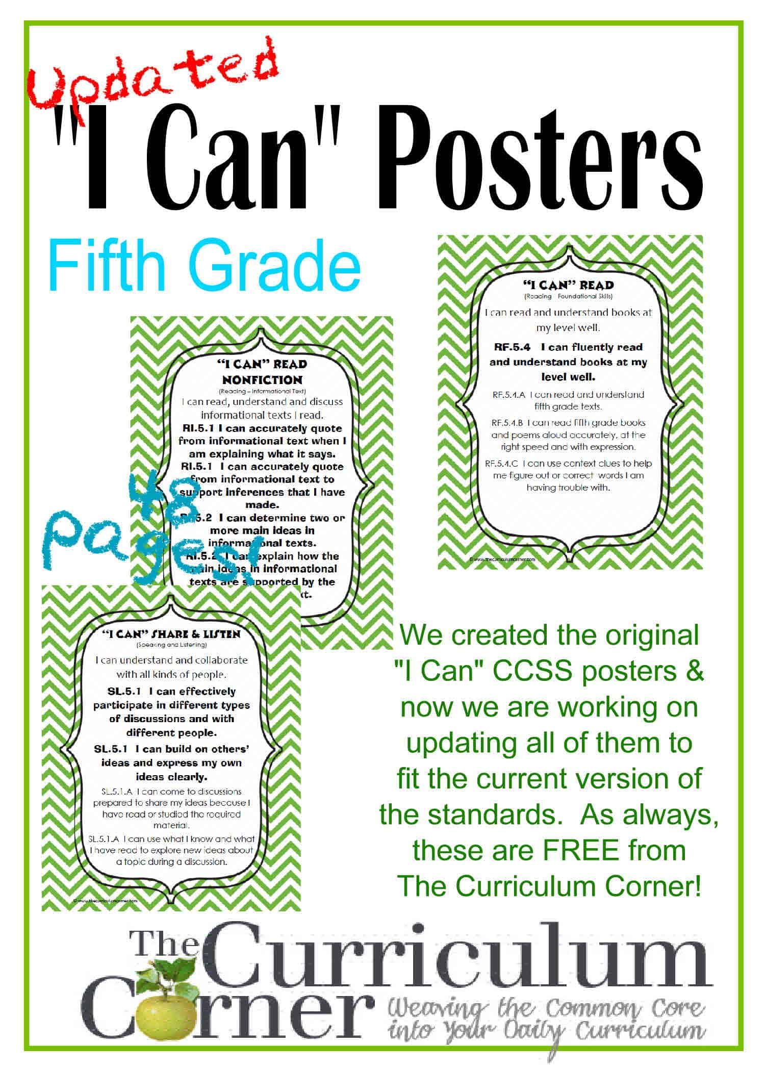 Updated 5th Grade I Can Ccss Posters In Green Chevron