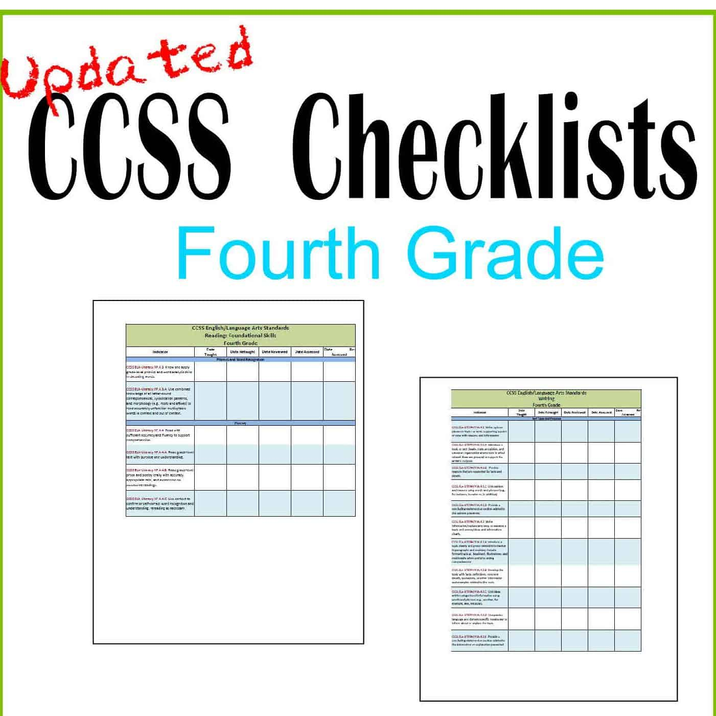 Updated 4th Grade Ccss And I Can Checklists