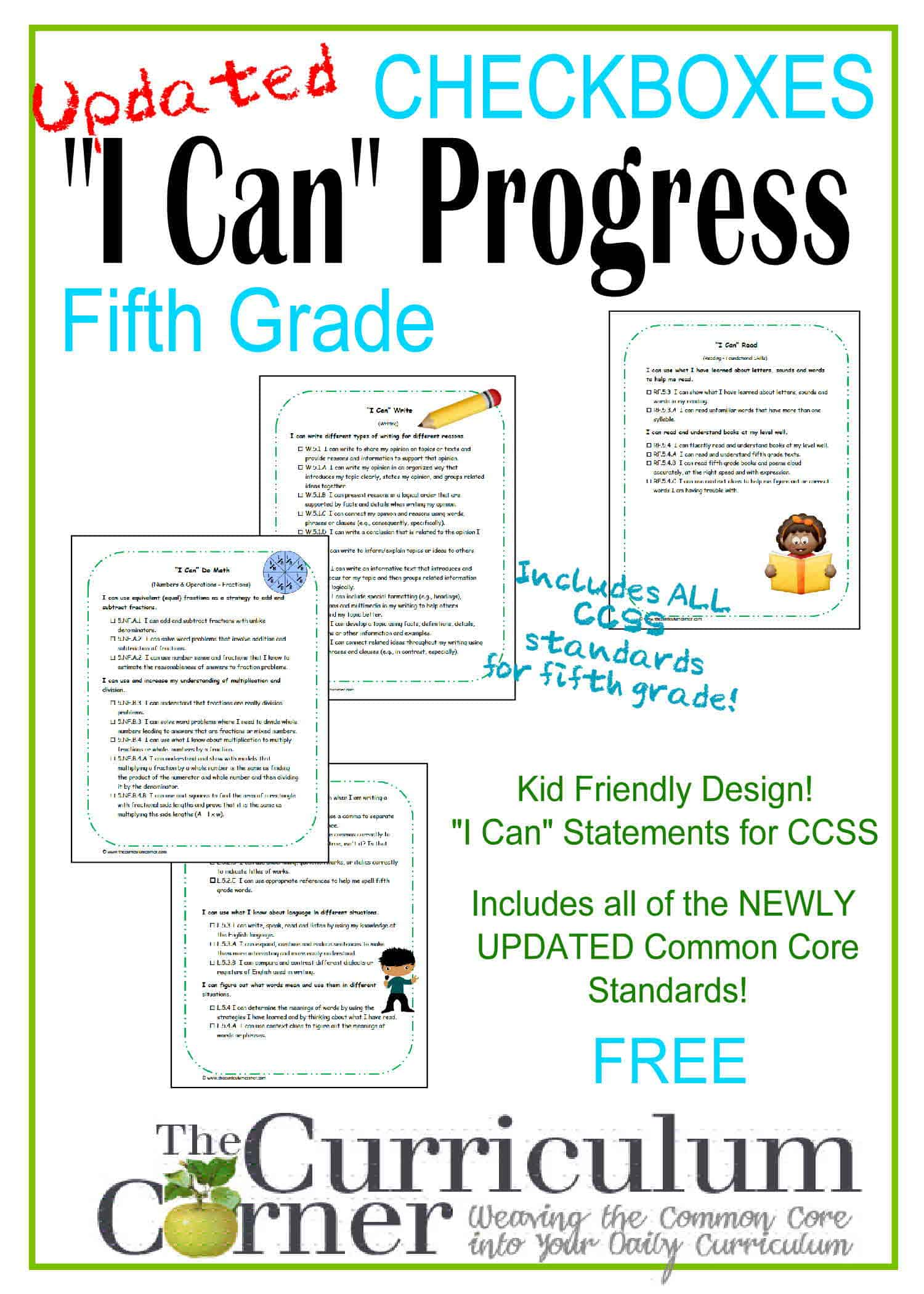 Kid Clip Art I Can Statements 5th Grade Ccss Checkboxes