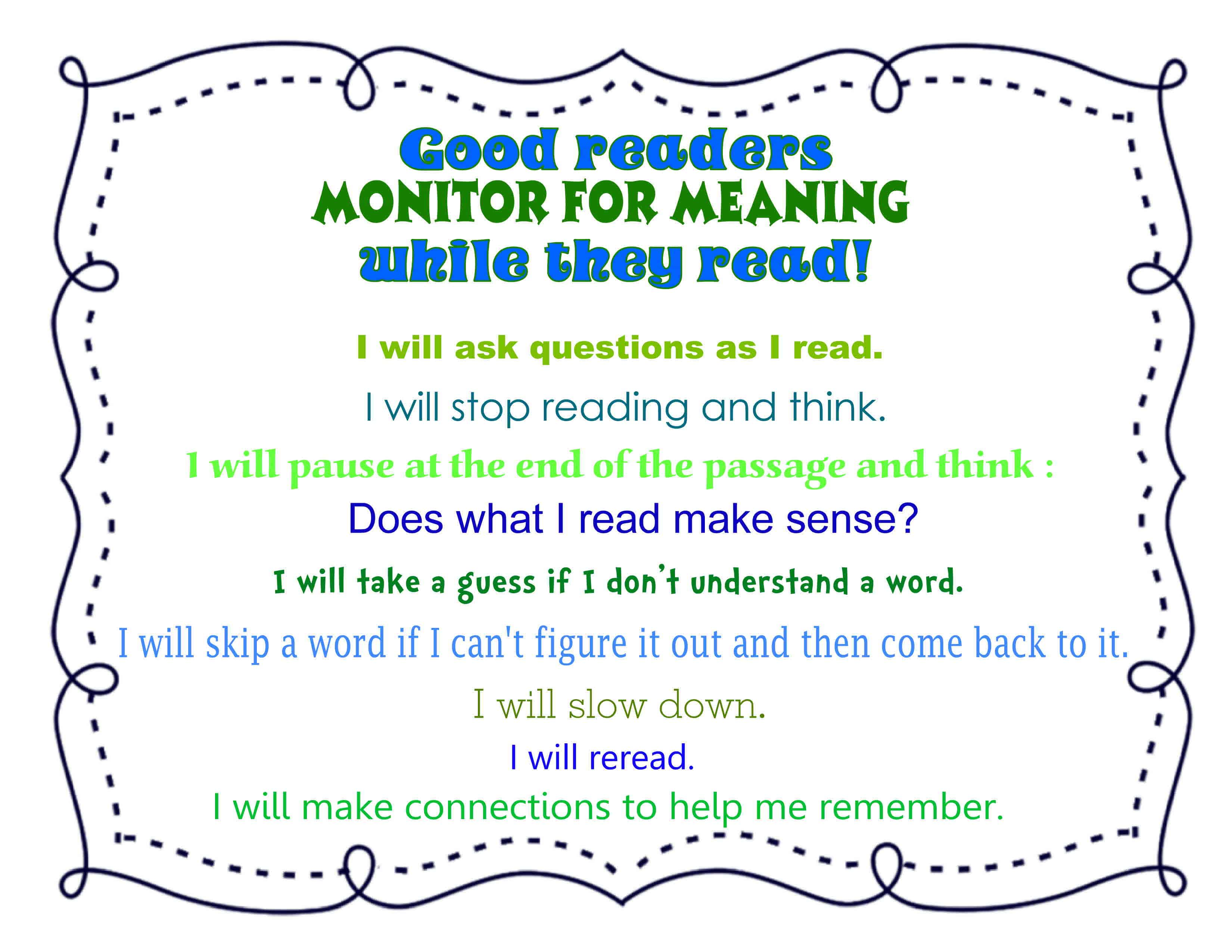 Close Reading Monitoring For Meaning