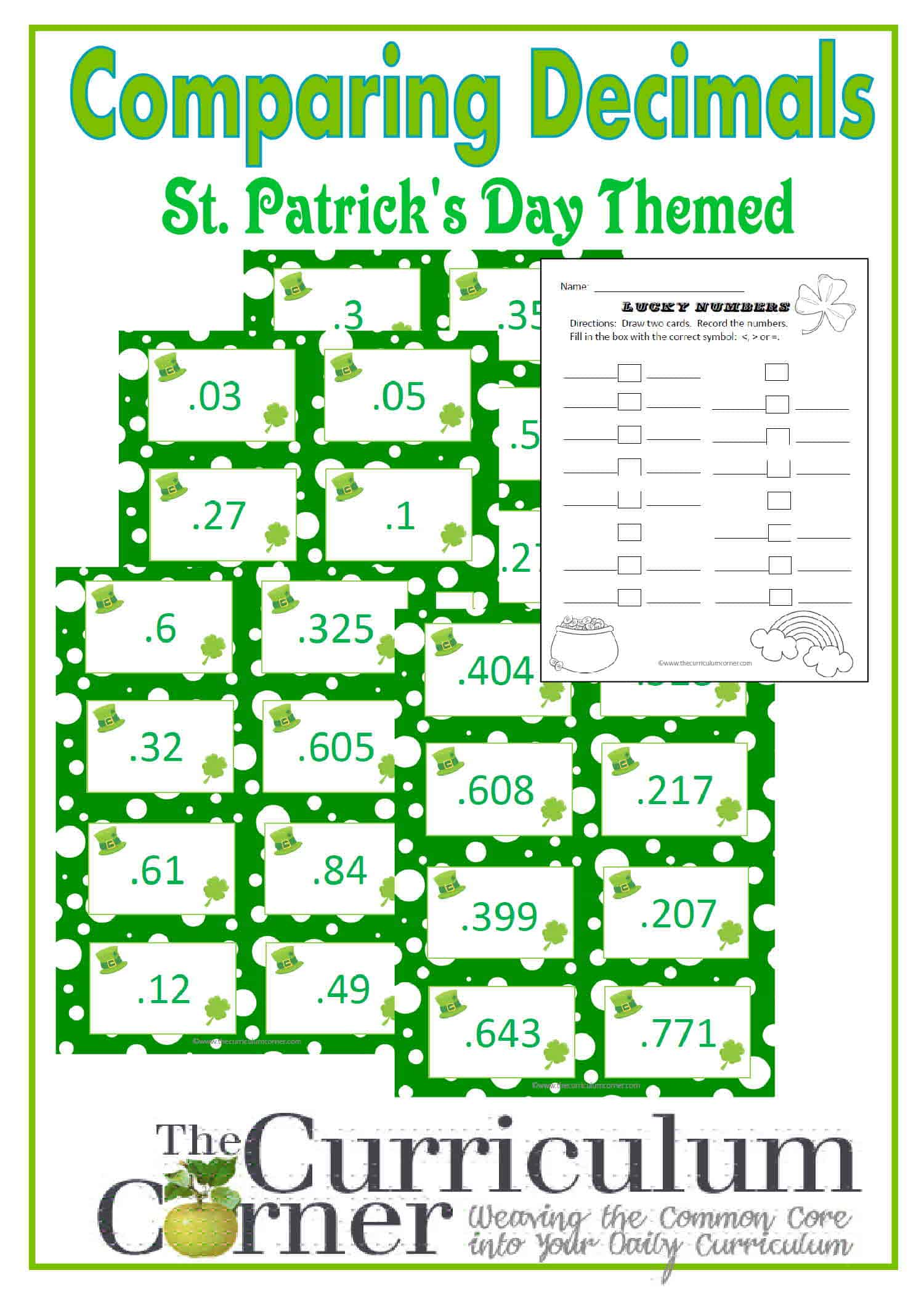 Comparing Decimals St Patrick S Day