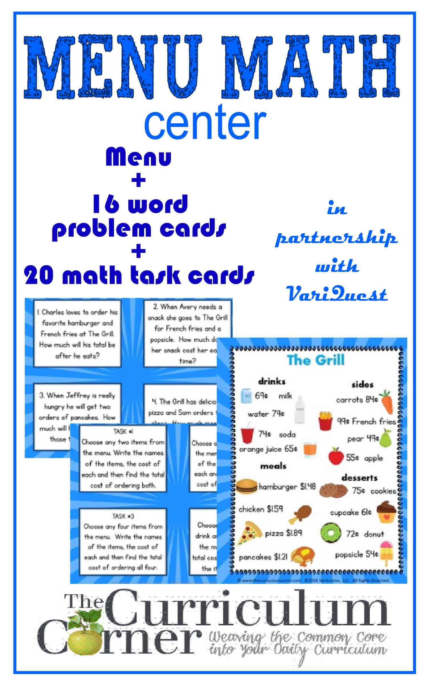 Menu Math For 4th Amp 5th Graders
