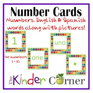 Number Matching Cards by The Kinder Corner