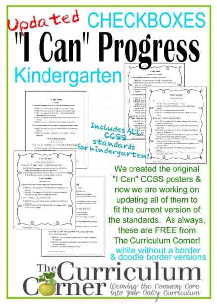 Kindergarten CCSS I Can Statements Progress Checkboxes from The Curriculum Corner