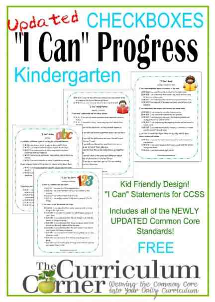 Kid Clip Art I Can Progress Checkboxes CCSS Free from The Curriculum Corner
