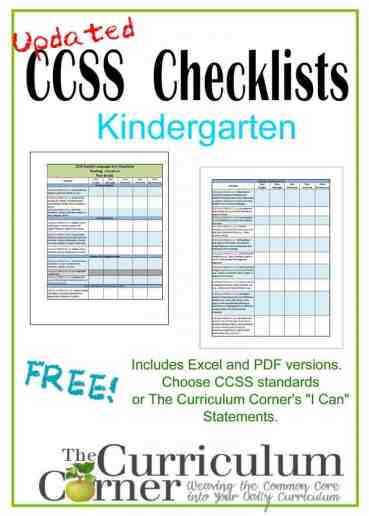 Common Core Checklists for Kindergarten | I Can Kindergarten Statements | Free from www.thecurriculumcorner.com | CCSS & I Can Statement versions | progress monitor |assessment