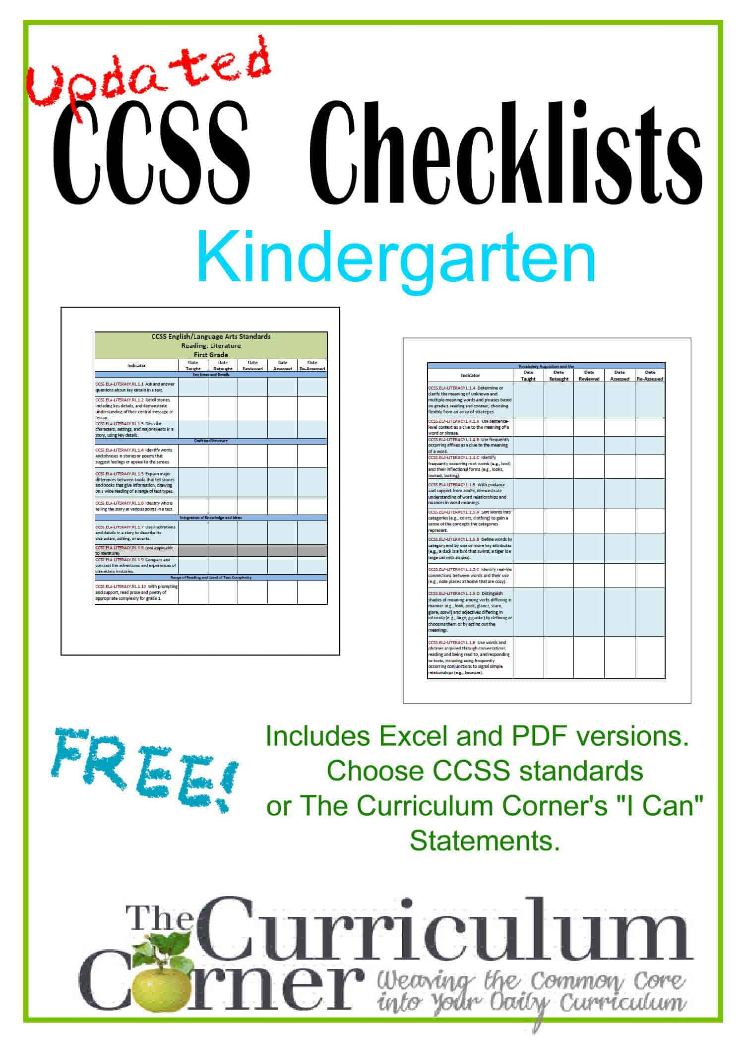Worksheet Kindergarten Curriculum updated kindergarten checklists ccss and i cans the kinder corner common core for can statements free from www thecurriculumcorner