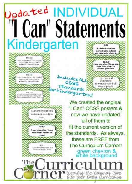 Individual Kindergarten I Can Statements in Kid Friendly Language FREE from www.thecurriculumcorner.com