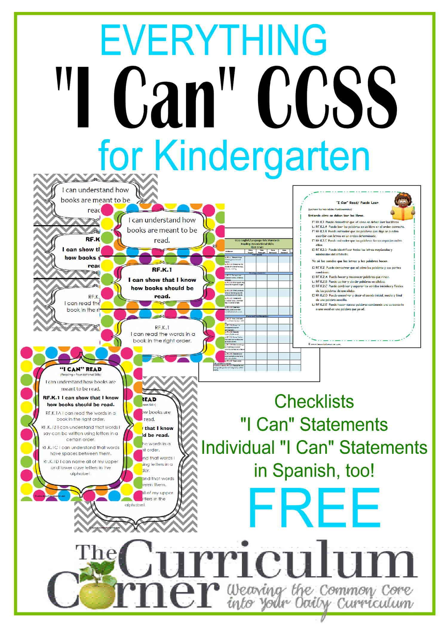 Everything I Can Common Core For Kindergarten