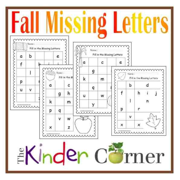 Fall Missing Letters Printable Practice Pages FREE from The Curriculum Corner