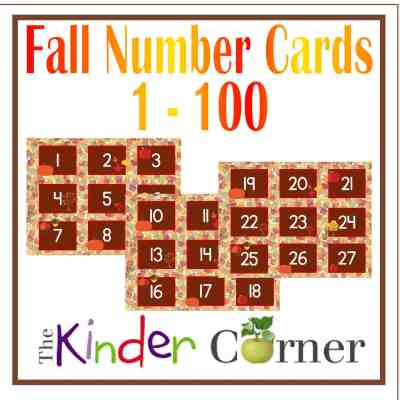 Fall Number Cards 1-100