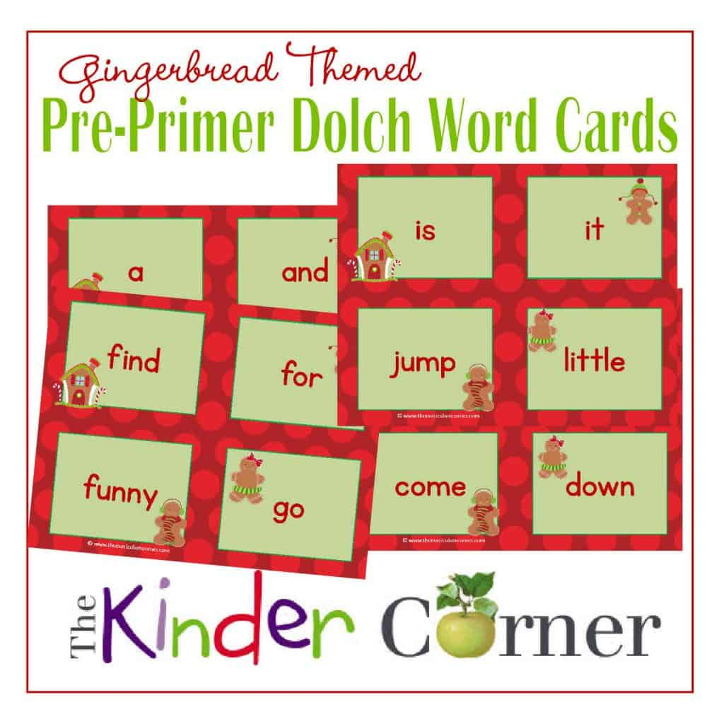Pre Primer Gingerbread Dolch Word Cards