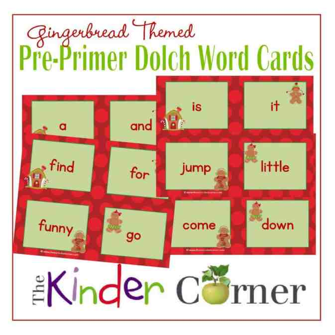 Dolch Pre-Primer Word Cards in a Gingerbread Theme Free from The Curriculum Corner