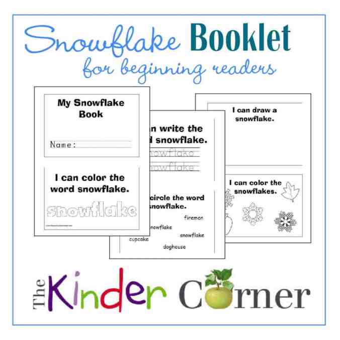 Snowflake Booklet for Early Readers and Writers Free from The Curriculum Corner