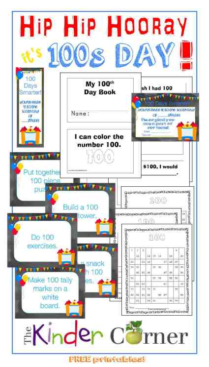 Hundreds Day Resources FREE from The Curriculum Corner | Center or Station Activity Cards | Certificate | Bookmarks |  100s Charts | 100s Day Booklet for Beginning Readers