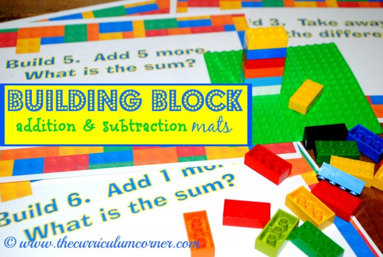 Building Block Math Addition and Subtraction Work Mats | Kindergarten | Computation | Common Core | FREE from The Curriculum Corner