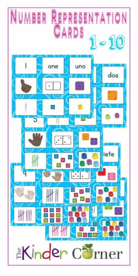 Number Representation Cards for Sorting, numbers 1 - 10   Free from The Curriculum Corner   math center   kindergarten   pre- kindergarten   English   Spanish   ELL