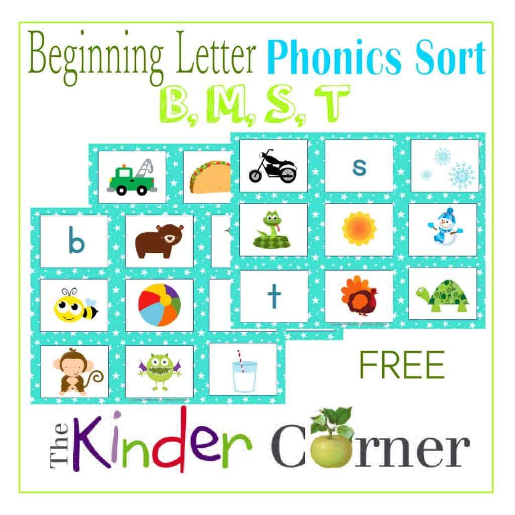 Beginning Letter Phonics Sort B M S T Free From The Curriculum Corner