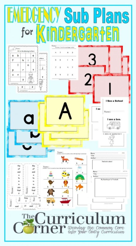 Kindergarten Emergency Sub Plans FREE from The Curriculum Corner | Check out these amazing plans for that last minute sick day!