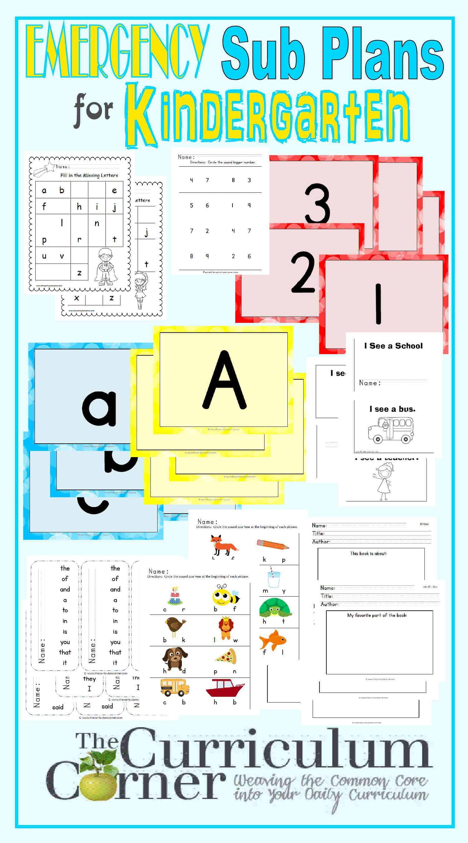 Kindergarten Emergency Sub Plans