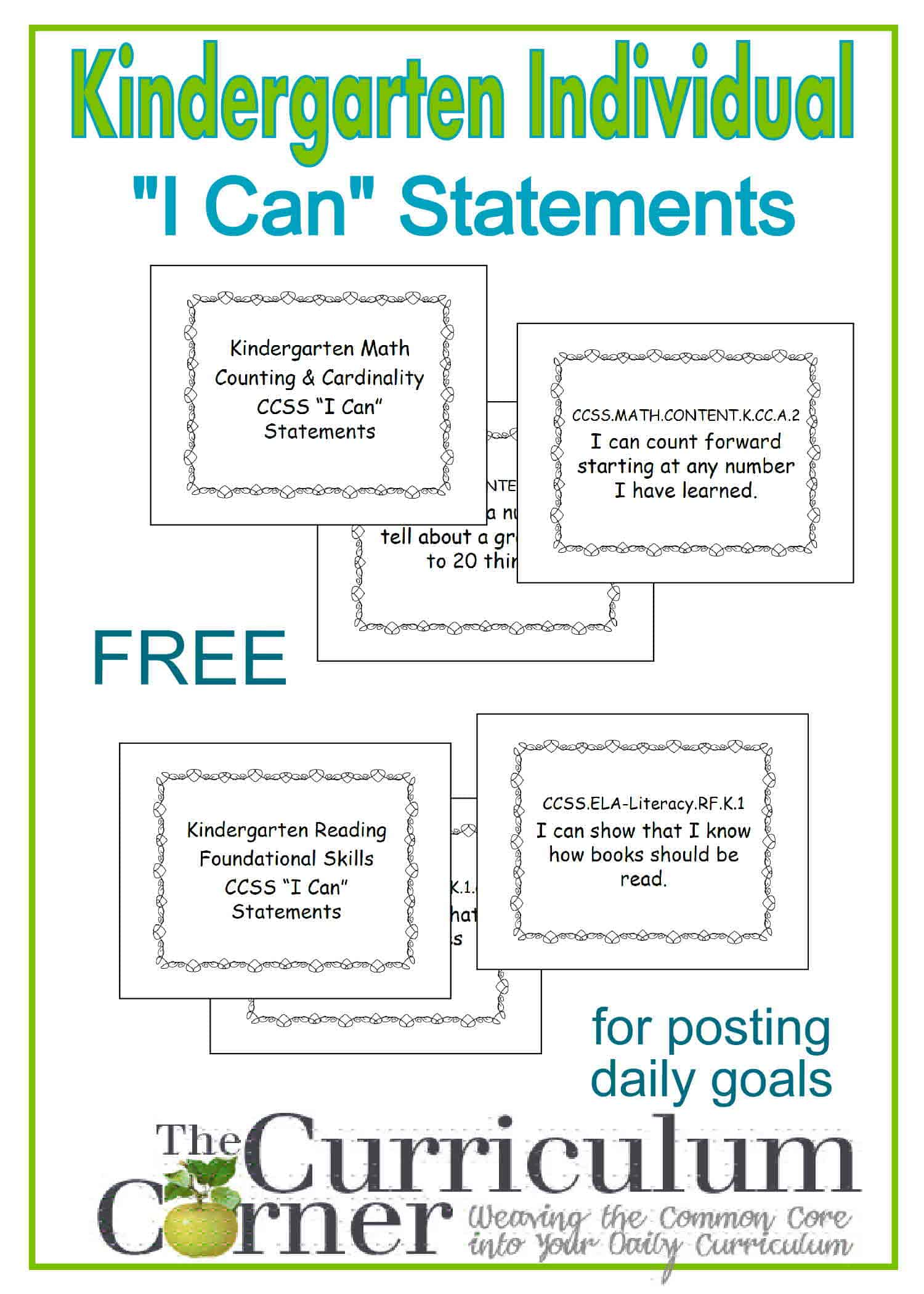 Kindergarten Individual I Can Statement Posters