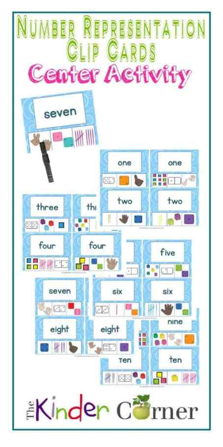 Number Representation Clip Cards Center Activity, numbers 1 - 10 | Free from The Curriculum Corner | math center | kindergarten | pre- kindergarten | English