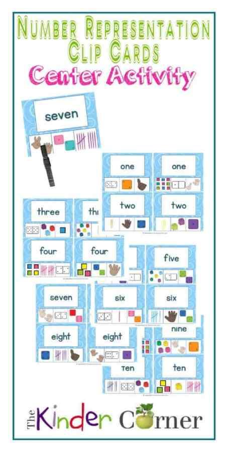 Number Representation Clip Cards Center Activity, numbers 1 - 10 | Free from The Curriculum Corner | math center | kindergarten | pre- kindergarten | English