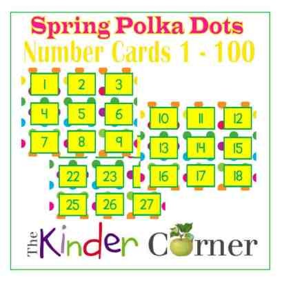 Spring Polka Dots Number Cards 1 though 100 FREE from The Curriculum Corner