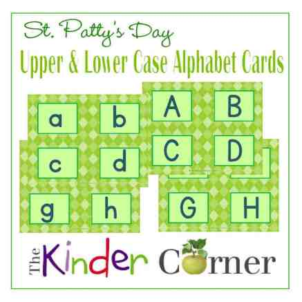Green St. Patrick's Day Upper & Lowercase Letters Alphabet Matching Cards from The Curriculum Corner FREE