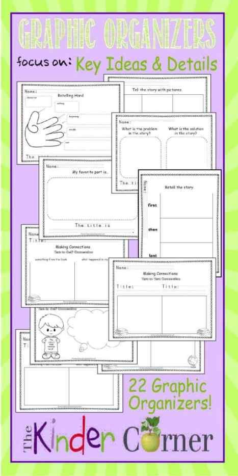 Graphic Organizers for Key Ideas & Details FREE from The Kinder Corner | Literature Graphic Organizers | Meets kindergarten literature standards! Great find!