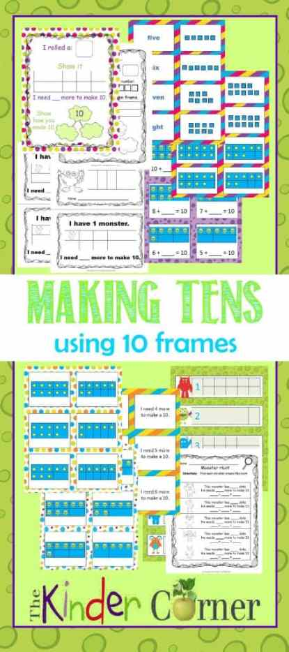 Making 10s Using 10 Frames with a Monster Theme | FREE from The Curriculum Corner | TONS of resources in one spot!