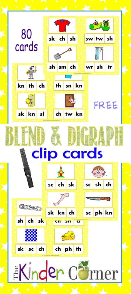 Blend & Digraph Sounds Clip Cards FREE from The Curriculum Corner | Word Work | Literacy Centers