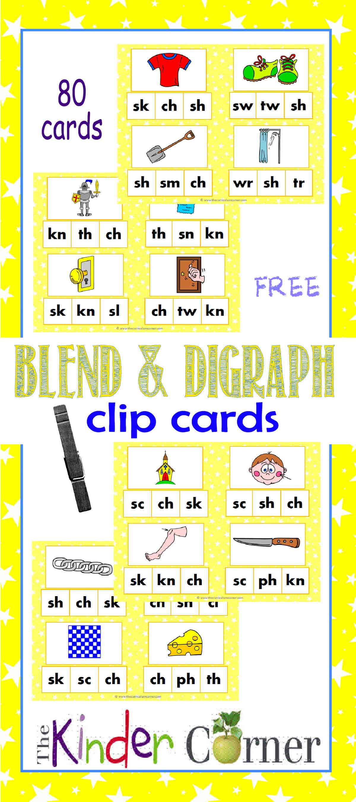Blends Amp Digraphs Clip Cards