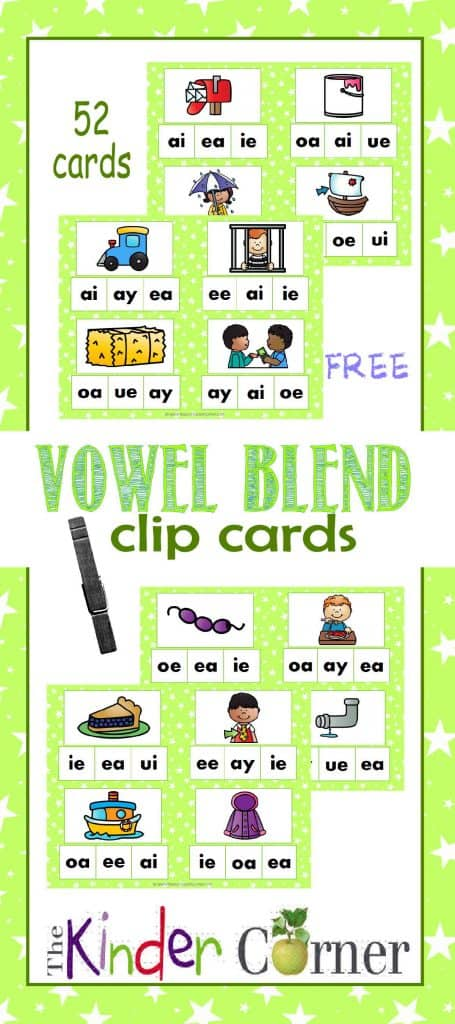 Vowel Blend Clip Cards FREE from The Curriculum Corner | Word Work | Literacy Centers