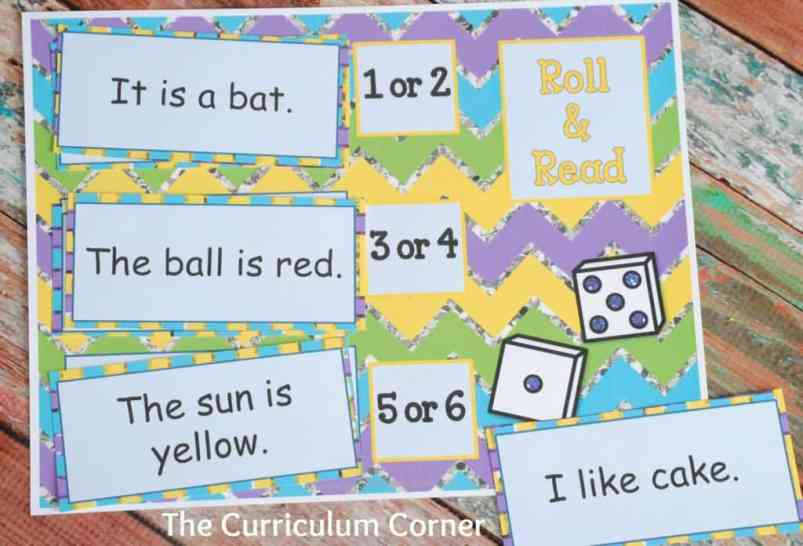 FREEBIE! Fluency collection for kindergarten - roll and read game & many other free resources! The Curriculum Corner