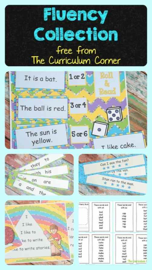 FREEBIE WOW!!! Fluency Practice Collection from The Curriculum Corner - tons of free printables!