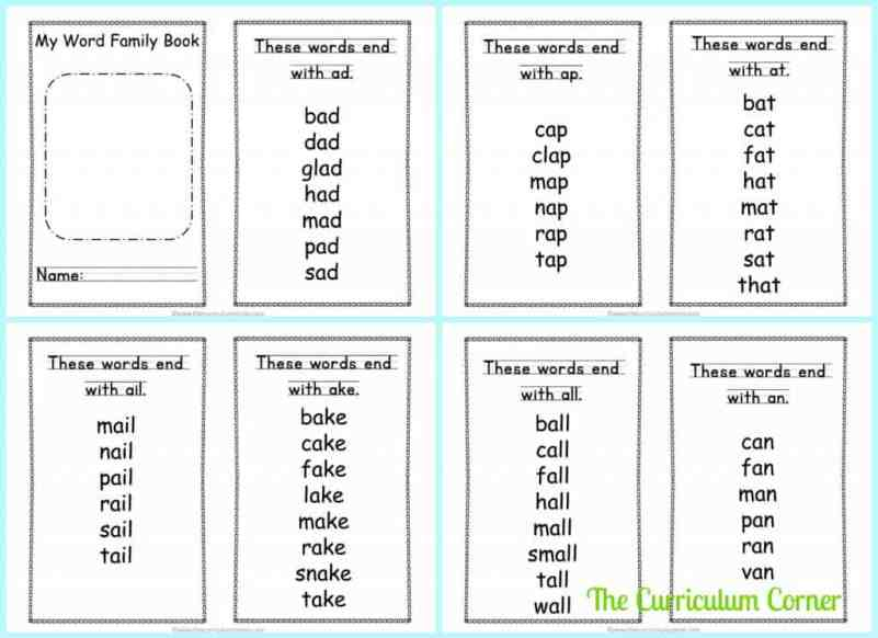 Fluency Word Family Booklets free from The Curriculum Corner