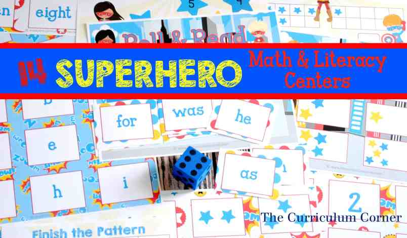 14 FREE Math & Literacy Superhero Centers from The Curriculum Corner